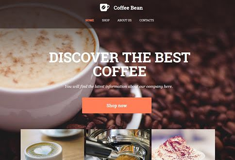 Free coffee shop web builder and coffee web page templates